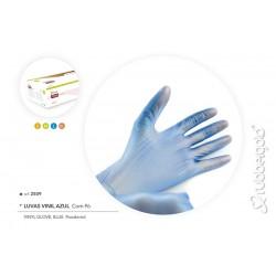 Luva De Vinil Azul Com Pó AQL 1.5 Rubbergold - Caixas com 100 Peças Ref.2509
