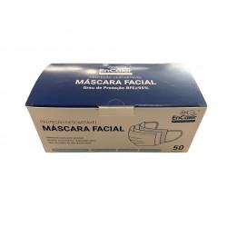 50 Mascaras de 3 Dobras Polipropileno Descartavel Azul