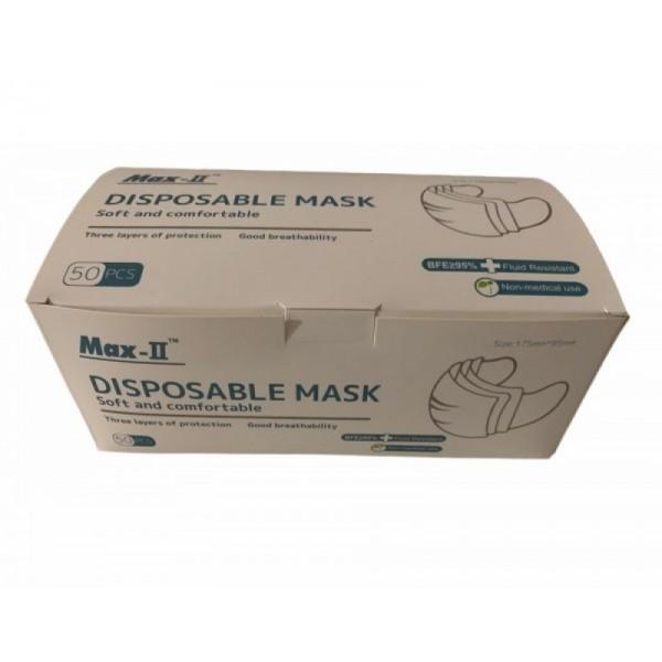 Descartaveis - 50 Mascaras de 3 Dobras Polipropileno Descartavel Azul