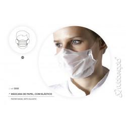 Mascara de Papel com Elástico Descartável 2 Dobras Rubbergold - Caixas com 100 Peças Ref.3202